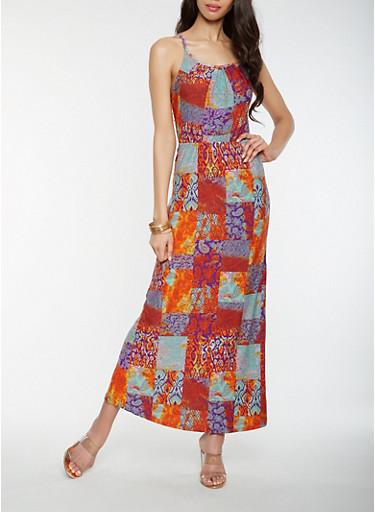 Printed Tie Back Tank Maxi Dress,MULTI COLOR,large