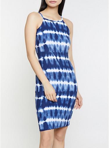 Tie Dye Midi Tank Dress,NAVY,large