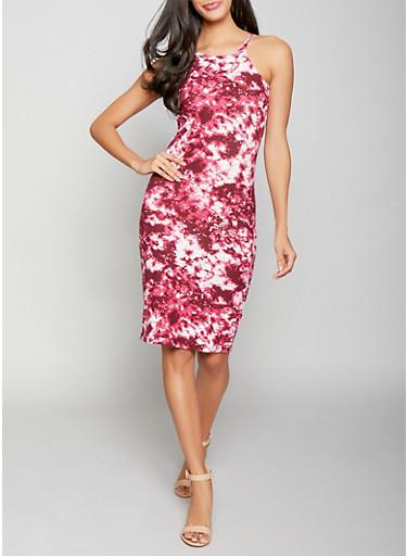 Tie Dye Midi Bodycon Dress,WINE,large
