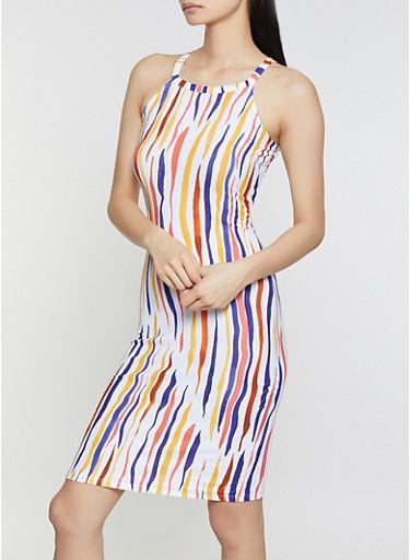 Printed Midi Tank Dress,WHITE,large