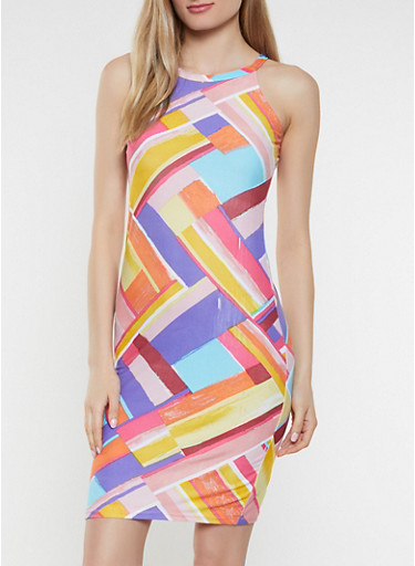 Printed High Neck Soft Knit Tank Dress,YELLOW,large