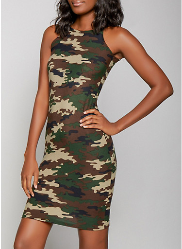 Camo Tank Dress,OLIVE,large