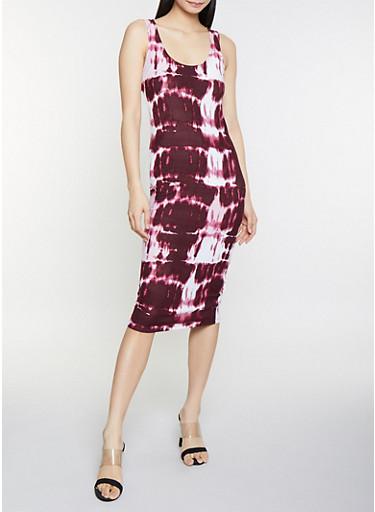 Tie Dye Tank Dress,WINE,large