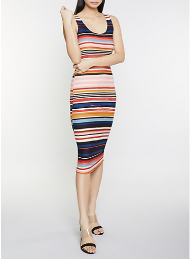 Striped Tank Midi Dress,MULTI COLOR,large