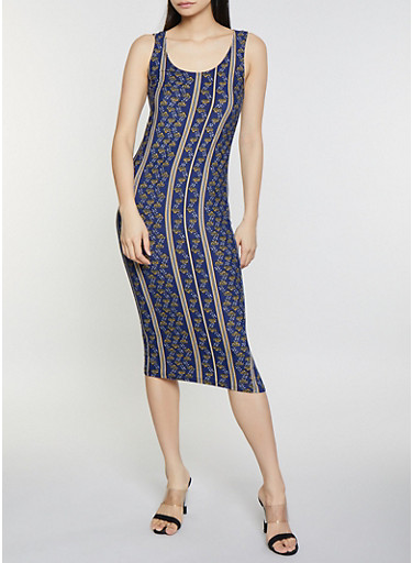 Printed Midi Tank Dress,NAVY,large