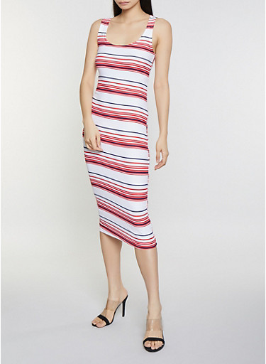 Striped Tank Dress,WHITE,large