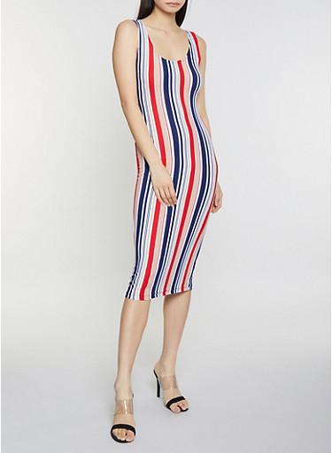 Striped Soft Knit Tank Dress,MULTI COLOR,large