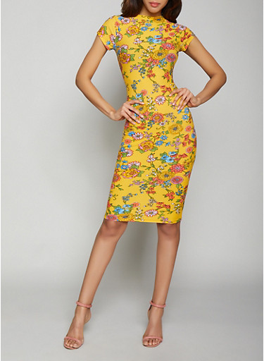 Floral Bodycon Dress,GOLD,large
