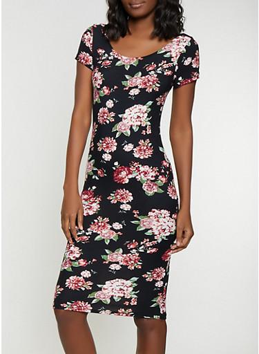 Floral Bodycon Dress,BLACK,large