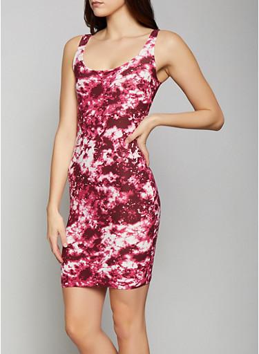 Tie Dye Bodycon Dress,WINE,large