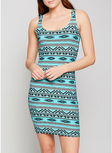 Aztec Print Tank Dress,MINT,large