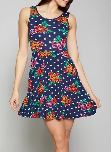 Floral Polka Dot Skater Dress,NAVY,large