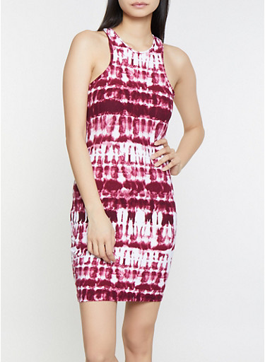 Tie Dye Racerback Tank Dress,WINE,large