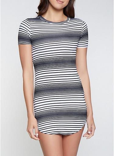 Striped T Shirt Dress | 1094038349463,BLACK/WHITE,large