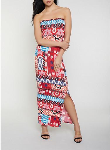 Printed Maxi Tube Dress,WINE,large