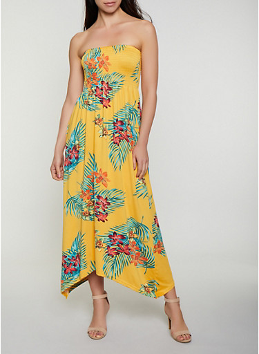 Tropical Floral Smocked Maxi Dress,MUSTARD,large