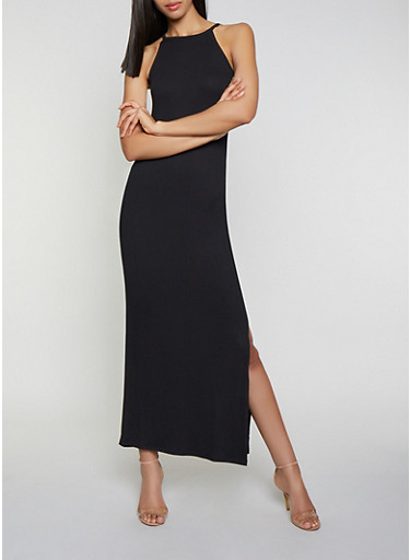 Soft Knit Side Slit Maxi Dress,BLACK,large