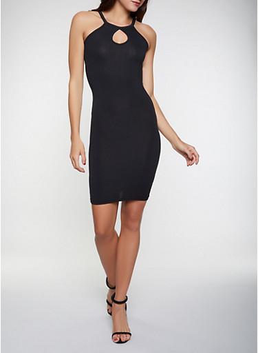 Soft Knit Keyhole Dress,BLACK,large