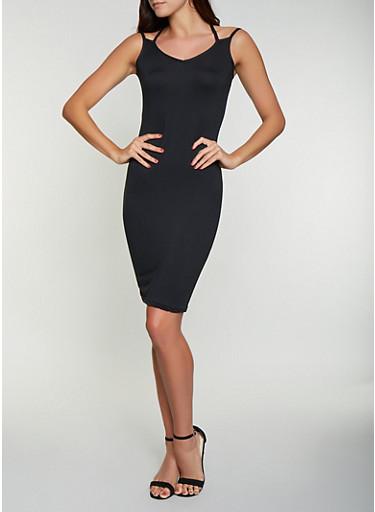 Criss Cross Back Bodycon Dress,BLACK,large