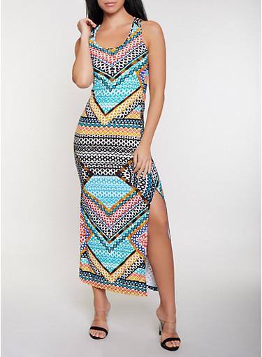 Mixed Aztec Print Racerback Tank Maxi Dress,MULTI COLOR,large
