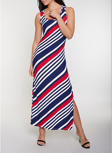 Diagonal Stripe Tank Maxi Dress,RED,large