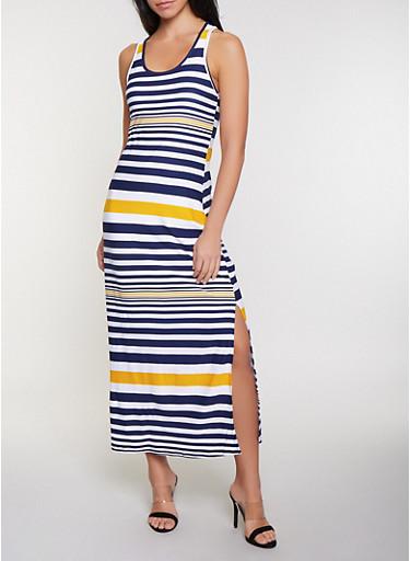 Contrast Stripe Racerback Maxi Tank Dress,NAVY,large