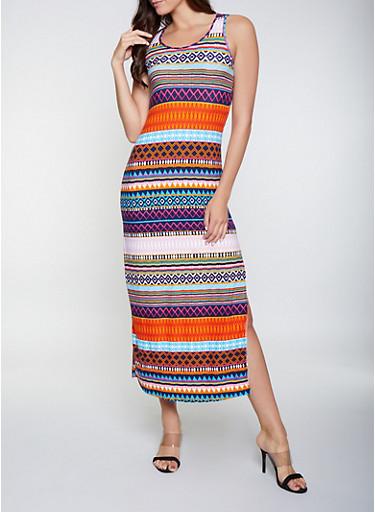 Printed Scoop Neck Maxi Dress,MULTI COLOR,large