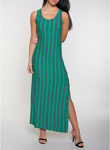 Sleeveless Striped Tank Maxi Dress,KELLY GREEN,large