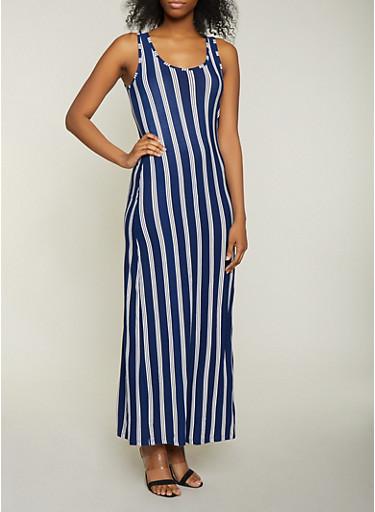 Striped Scoop Neck Tank Dress,NAVY,large