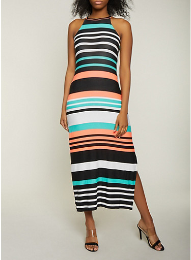 Striped Soft Knit Side Slit Maxi Dress,WHITE,large