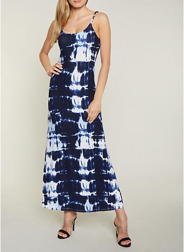 Tie Dye Cami Maxi Dress,NAVY,large