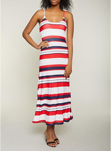 Striped Cami Maxi Dress,WHITE,large