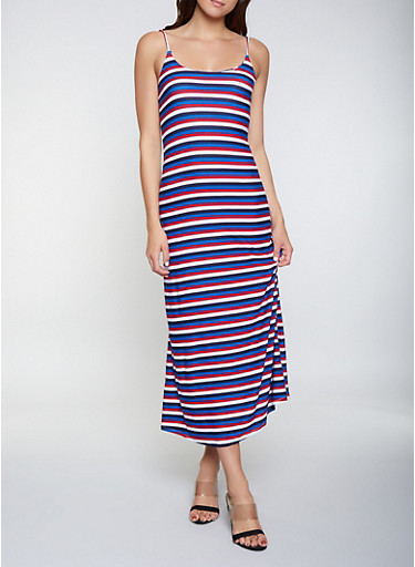 Striped Soft Knit Maxi Dress,NAVY,large