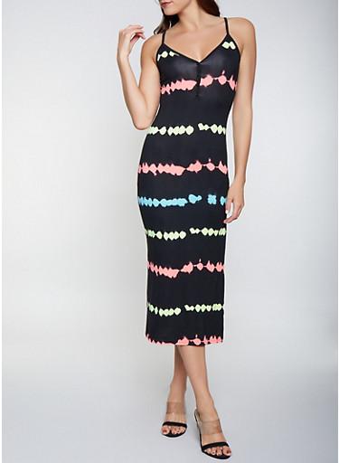 Neon Stripe Half Button Tank Dress,BLACK,large