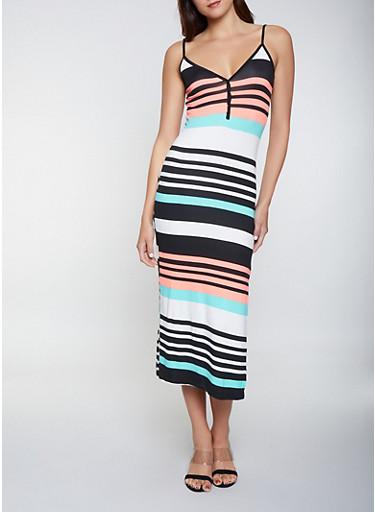 Multi Stripe Half Button Tank Maxi Dress,BLACK,large