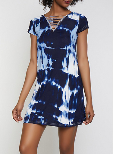 Tie Dye Caged T Shirt Dress,NAVY,large