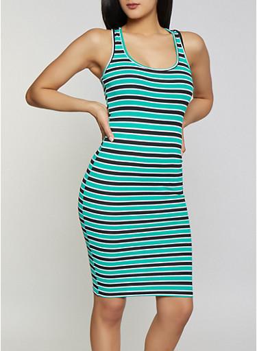 Striped Racerback Tank Midi Dress,KELLY GREEN,large