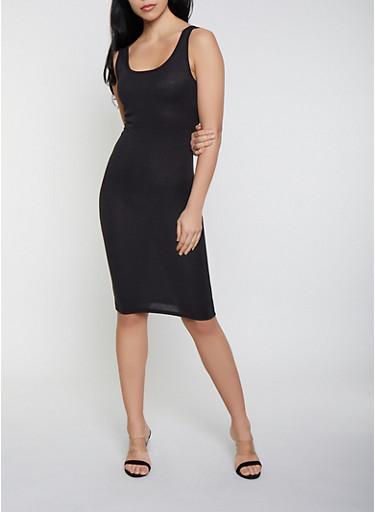 Ribbed Midi Tank Dress,BLACK,large
