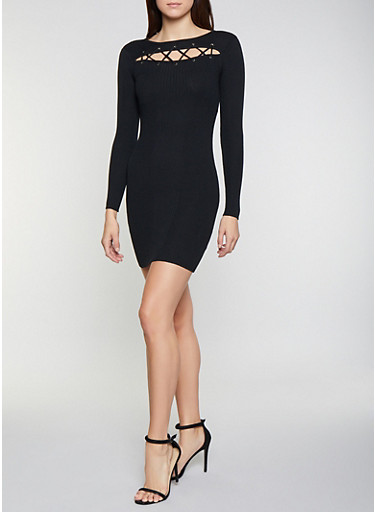 Lace Up Cut Out Sweater Dress,BLACK,large