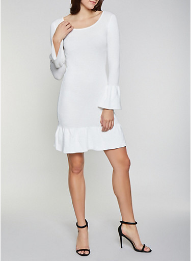 Bell Sleeve Sweater Dress,IVORY,large
