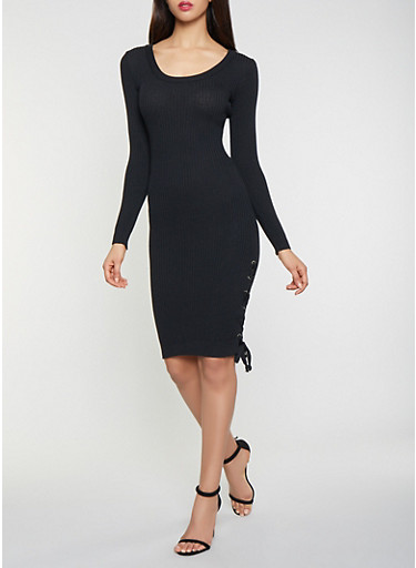 Lace Up Sweater Dress,BLACK,large