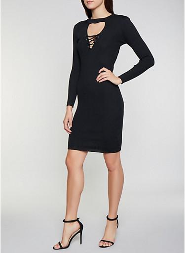 Lace Up Choker Neck Sweater Dress,BLACK,large