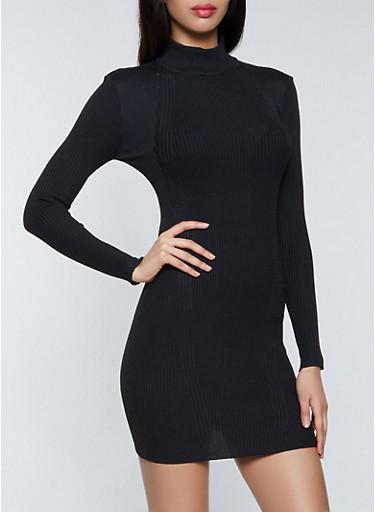 Mock Neck Ribbed Knit Sweater Dress,BLACK,large