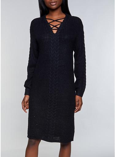 Lace Up Sweater Dress,BLACK,large