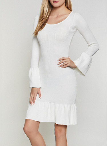 Ribbed Bell Sleeve Sweater Dress,IVORY,large