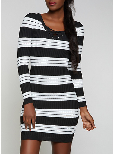 Striped Lace Up Sweater Dress,BLACK,large