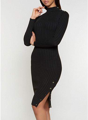 Mock Neck Button Sweater Dress,BLACK,large