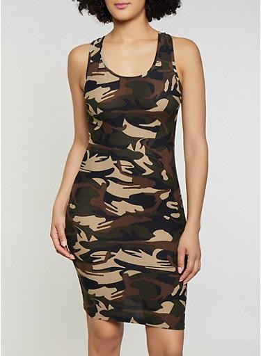 Racerback Camo Tank Dress,OLIVE,large