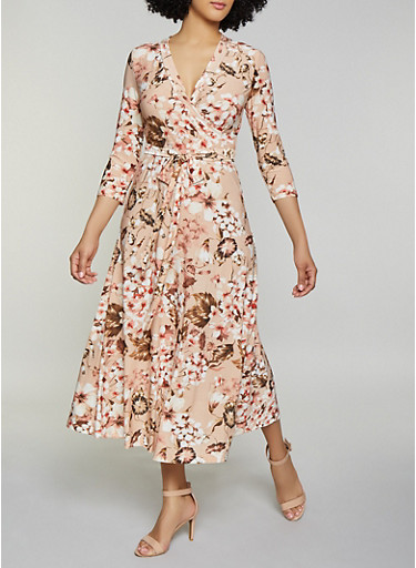 Floral Faux Wrap Maxi Dress | 1094051060955,BLUSH,large