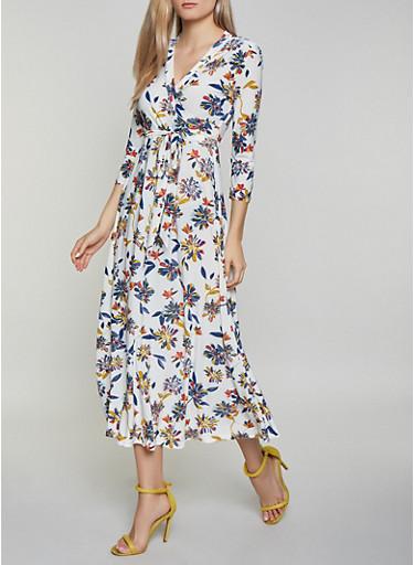 Tie Waist Floral Faux Wrap Maxi Dress,WHITE,large